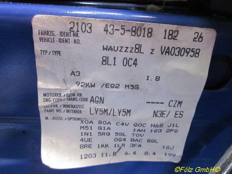 AUDI A3 (8L1) 1.8
